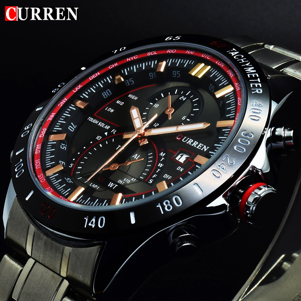 CURREN SILVER RED Exclusive Style Luxus Férfi Karóra