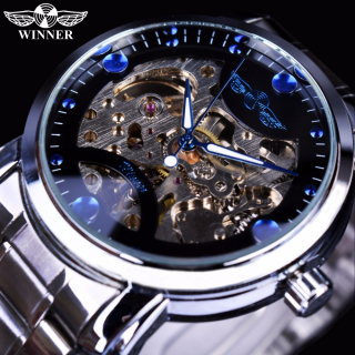 WINNER SILVER/BLUE Skeleton Exclusive Style Luxus Mechanikus Férfi Karóra
