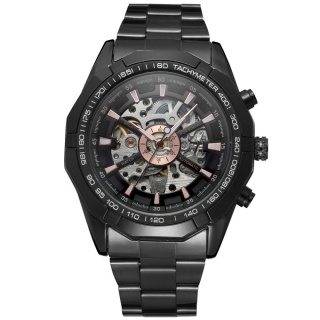 FORSINING BLACK SILVER EXCLUSIVE STYLE LUXUS Mechanikus Férfi Karóra