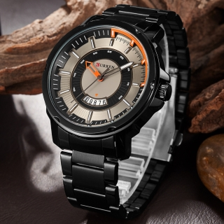 CURREN BLACK SILVER ORANGE EXCLUSIVE STYLE Férfi Karóra